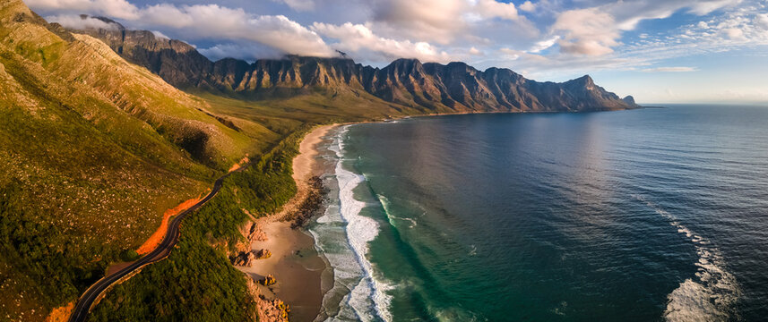 Panoramic aerial view of Clarens Drive Kogel Bay beach, Cape Town, South Africa