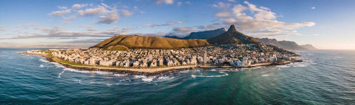 Panoramic aerial view of Lions Head from Sea Point Cape Town, South Africa