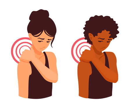 A cute girl massaging her sore neck with her hand. Neck pain. Trapezius muscle spasm. Shoulder pain. The human spine hurt. A woman touching ache neck after the workout. A vector cartoon Illustration.