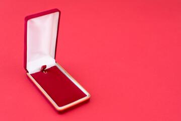 Fototapeta Empty Jewelry Box Over Red Background obraz