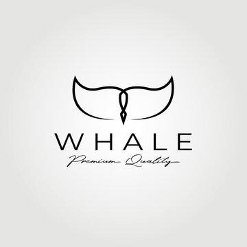 Creative whale tail logo vector illustration design graphic , clever line art logo concept