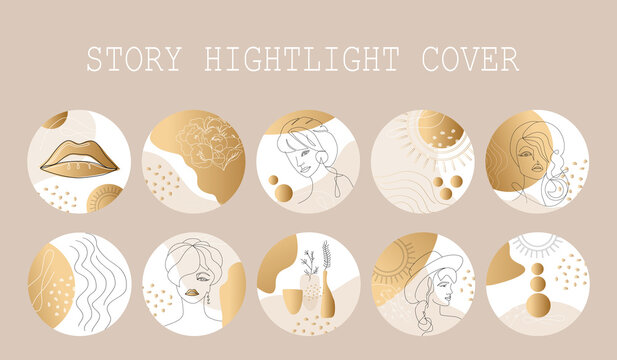 Set of Beautifil trendy Highlight  story cover for for women, girls and beauty spheres , modern minimalist art, trend . Fashion illustrations vector gold colour,  One line and color shape art