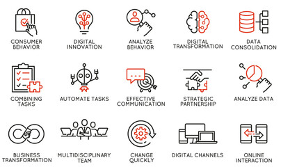 Obraz Vector Set of Linear Icons Related to Automation, Convenience of Purchasing Products, Business and Digital Transformation. Mono Line Pictograms and Infographics Design Elements - fototapety do salonu