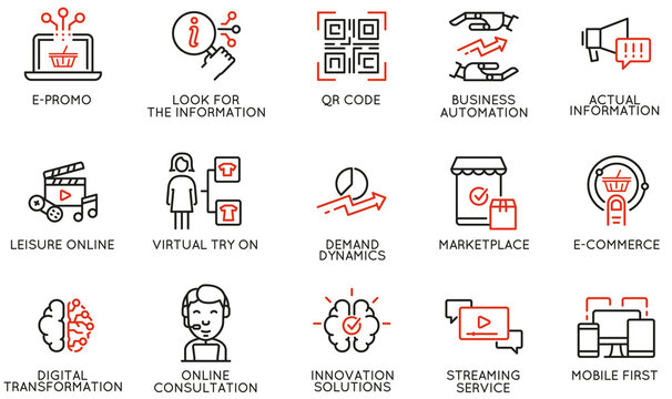 Vector Set of Linear Icons Related to Business Automation, Convenience of Purchasing Products, Change in Demand and Digital Transformation. Mono Line Pictograms and Infographics Design Elements