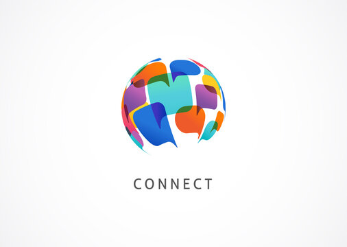 Communication, connect the world concept design, abstract logo template