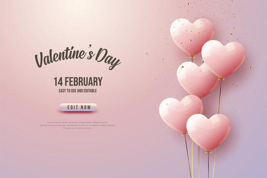 Valentine's day with love balloons with gold ropes.