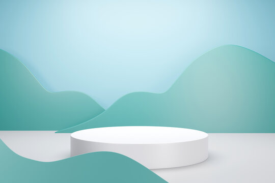 3d rendering of white podium with green cloud or plant pastel color background for product advertising