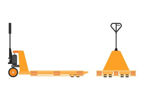 Hand pallet jack lift and wooden pallet isolated on white. cargo cart or forklift. Delivery, logistic and shipping cargo. Vector illustration in flat style
