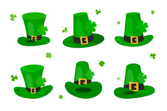 Saint Patrick Day leprechaun green hat set with shamrock clover four leaf lucky icon flat style design vector illustration isolated on white background.
