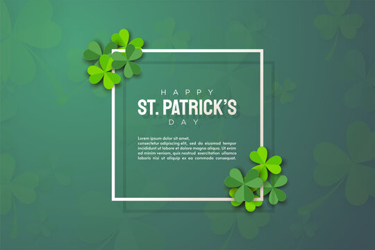 st patrick's day background with green leaves and thin rectangular lines.