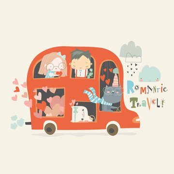 Cartoon red valentines day bus with couples in love