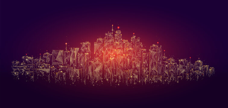 Low poly city skyline panorama vector illustration. Digital wireframe of architectural building in panoramic view made of connected dots. Low poly art of cityscape.