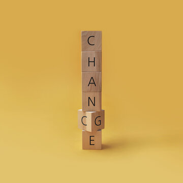 Wooden cubes with inscriptions: chance and change. Changes and new chances in a person's life