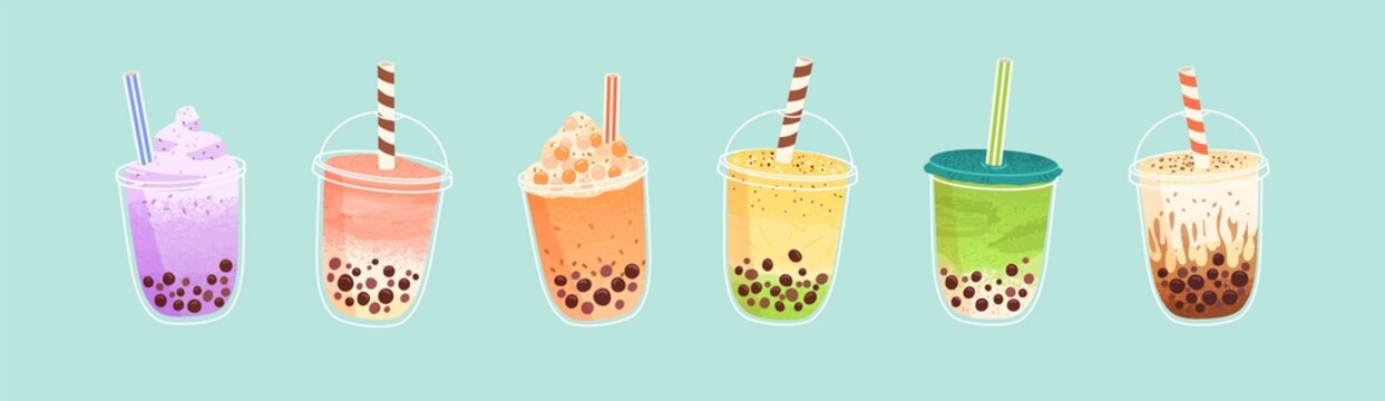 Set of plastic glasses with Taiwanese bubble or boba milk tea with different flavors: matcha, honeydew, etc. Collection of cold Asian drink from tapioca pearls. Colorful flat vector illustration