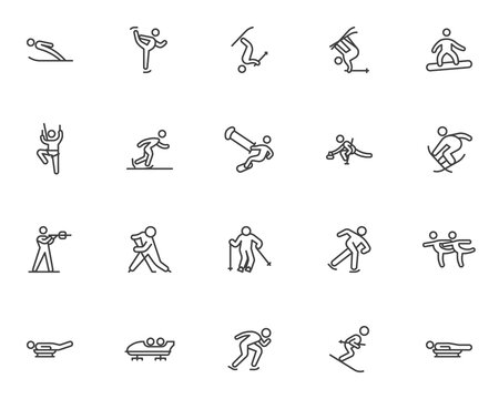 Winter sport line icons set. linear style symbols collection, outline signs pack. vector graphics. Set includes icons as ski jumping, figure skating, snowboarding, curling, biathlon racing, ice hockey
