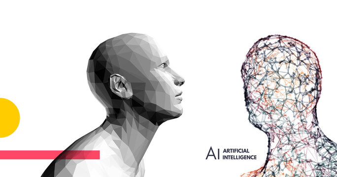Human vs robot. Conflict of artificial intelligence and human mind. The concept of rivalry.  Scientific digital design template. 3d vector illustration for presentations, flyers or posters.