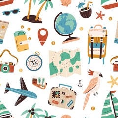 Seamless pattern with touristic items like passport, backpack, globe, cocktail, airplane, palm trees and map. Endless texture about travel and tourism. Flat vector illustration on white background