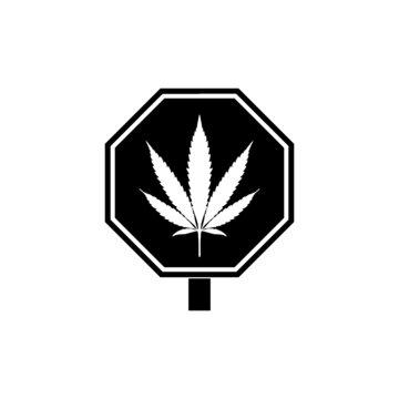 Marijuana Pot Weed Cannabis Road Sign isolated on white background