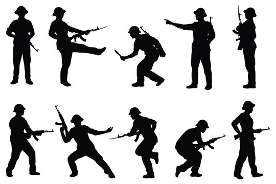 Set of Vietcong soldier with rifle gun in Vietnam war silhouette vector, military man in the battle.