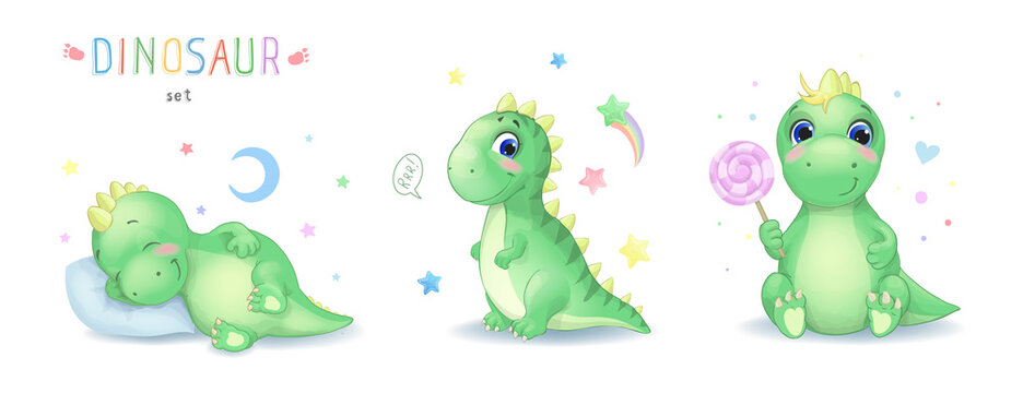 Vector illustration of cartoon cute dinosaur character set. Sleepping, sitting cartoon watercolor dinosaur with candy