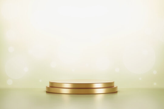 Gold product display or podium pedestal on advertising background with blank backdrops. 3D rendering.