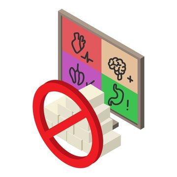 Diabetes prevention icon. Isometric illustration of diabetes prevention vector icon for web