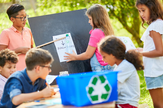 Children learn recycling in an ecology project