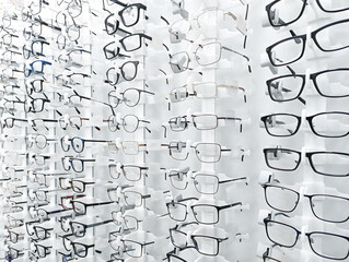 The department with rows of glasses at optical store