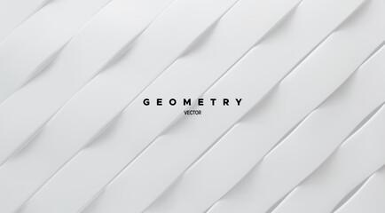 Geometric minimalist pattern. White ribbons abstract background