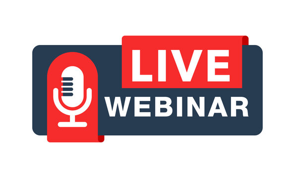 Live webinar button with microphone icon