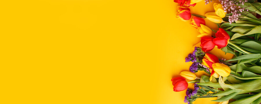 Yellow colorful Holiday banner. Bouquet of red yellow tulips on bright yellow background. Mother's day, Valentines Day, Birthday celebration concept. Hallo Spring, Copy space, top view, greeting card
