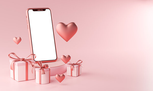 Smartphone Mockup Valentine Theme Love Heart Shape and Gift Box 3D Rendering
