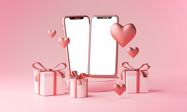 Two Smartphone Mockup Valentine Theme Love Heart Shape and Gift Box 3D Rendering