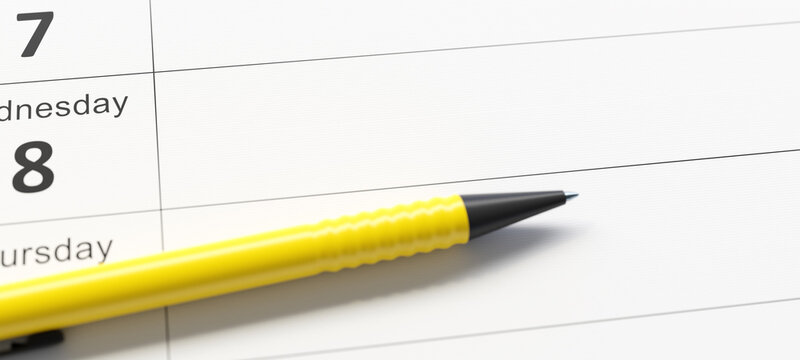calendar with pen and space for your message