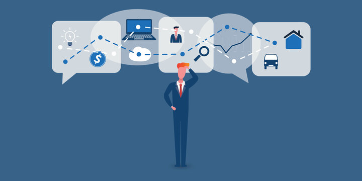Many Ways of IT and Modern Technology to Use in Businesses - Concept of Confused Business Man with Speech Bubbles Representing Various Technical Recommendations and Solutions