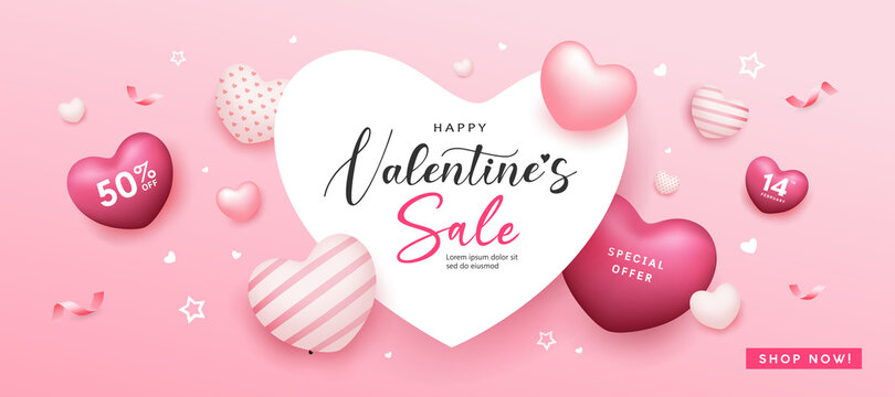 Happy Valentine's day sale heart space, balloon heart pink colorful banners design on pink background, Eps 10 vector illustration