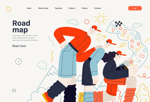 Business topics - road map, web template, header. Flat style modern outlined vector concept illustration. A group of people wearing traveling clothes looking at the road map. Business metaphor.