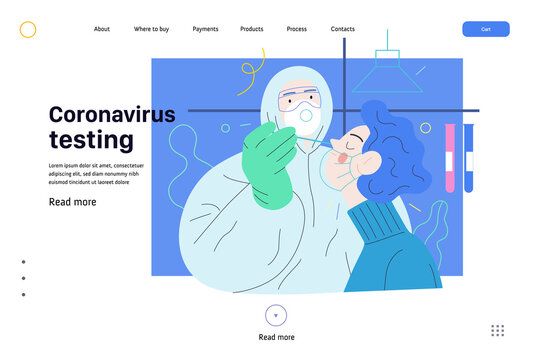 Medical tests web template - testing for COVID-19 - modern flat vector illustration of coronavirus test procedure - a patient and doctor wearing protective suit and respirator, the medical laboratory