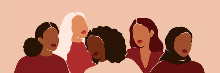 Five women of different ethnicities and cultures stand side by side together. Strong and brave girls support each other and feminist movement. Sisterhood and females friendship. Vector illustration - fototapety na wymiar
