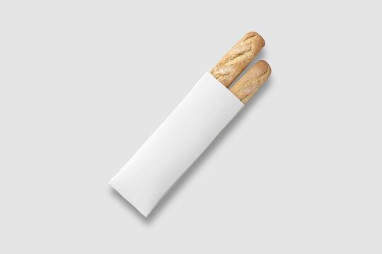 Fresh Baguette in a white Paper Bag Mockup on white background. Mockup. 3D rendering.