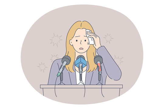 Stress, mental disorder, fear of public speaking concept. Young frustrated stressed woman speaker standing on tribune swiping sweat with napkin feeling afraid scared terrified with public presenting