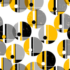 seamless geometric pattern background, retro/vintage style, with circles, paint strokes and splashes