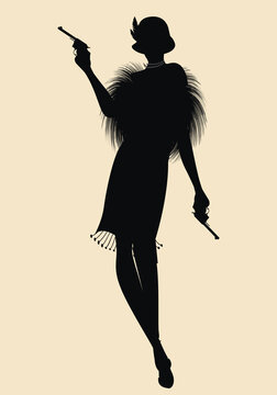 Elegant silhouette of a flapper girl in 20s, 30s,  retro style, wearing a hat and armed with guns