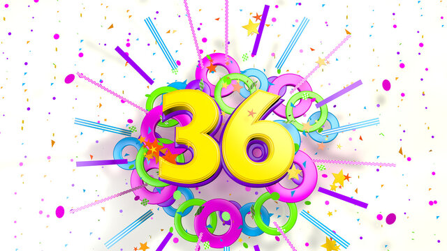 Number 36 for promotion, birthday or anniversary over an explosion of colored confetti, stars, lines and circles on a white background. 3d illustration