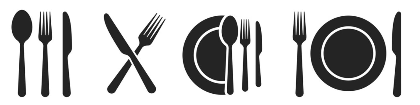 Fork, knife, spoon and plate set icons. Tableware set flat style. Dinnerservice collection. Plate, fork and knife for apps and websites. Dinner service - stock vector.
