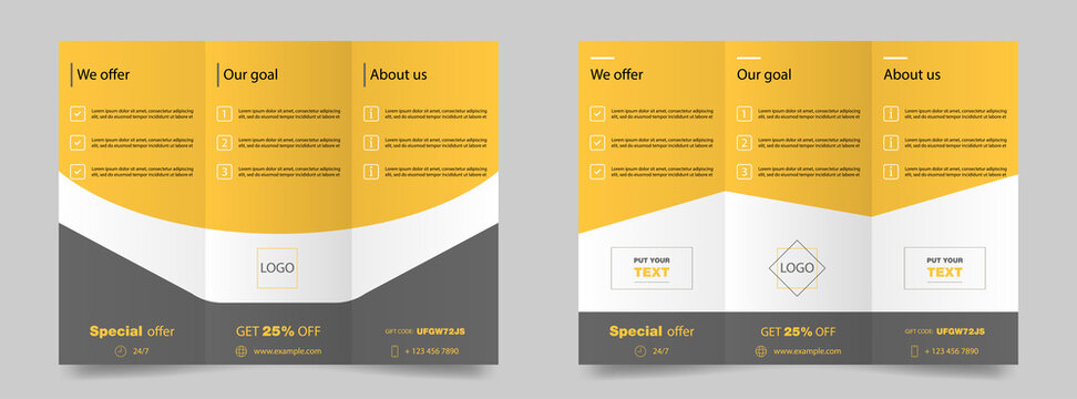 Trifold brochure mockup. Magazine poster mockup. Brochure cover for business. Trifold template in yellow. Promotion flier. Editable poster. Trifold magazine. Vector illustration. EPS 10.