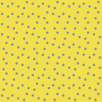 Grey and yellow polka dots vector seamless pattern background. Trendy backdrop of truchet generative art random circles. Hand drawn tossed confetti repeat. All over print for home decor