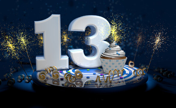 13th birthday or anniversary cupcake with big white number with yellow streamers on blue table with dark background full of sparks. 3d illustration
