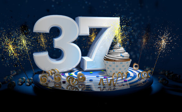 37th birthday or anniversary cupcake with big white number with yellow streamers on blue table with dark background full of sparks. 3d illustration