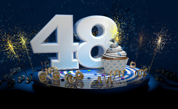48th birthday or anniversary cupcake with big white number with yellow streamers on blue table with dark background full of sparks. 3d illustration